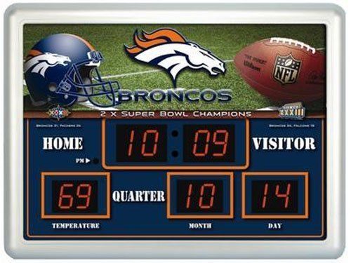 Denver Broncos Time / Date / Temp. Scoreboard by Team Sports America. $89.70. Please Note: Due to the size of this item, it is not eligible for Expedited shipping. Now is the time to cheer for your favorite team with this LED readout scoreboard. Cleverly displays time, temperature and date on a team themed display board. Ideal for game room, bar and family room but also weatherproofed for outdoor use. UL listed, overall size 19x14x2. Save 24% Off!