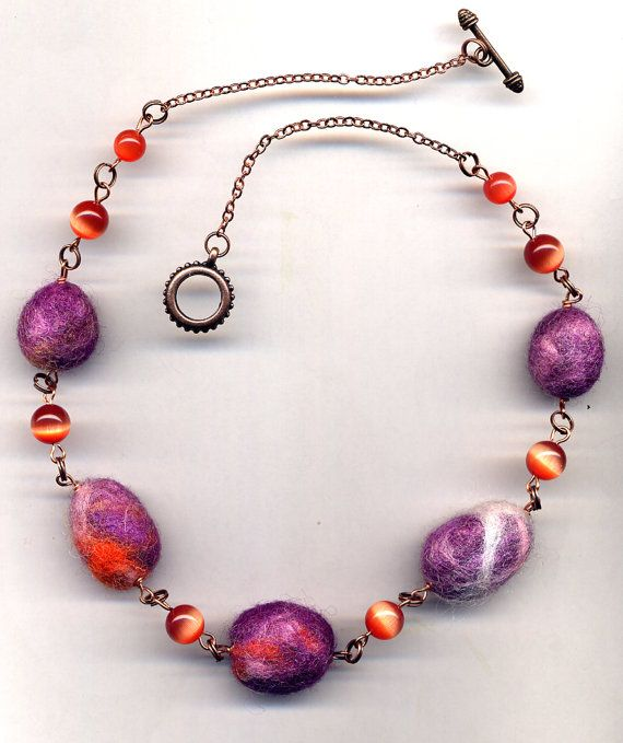 Felted Pebbles Necklace Copper Necklace Fall Color by Annaart72