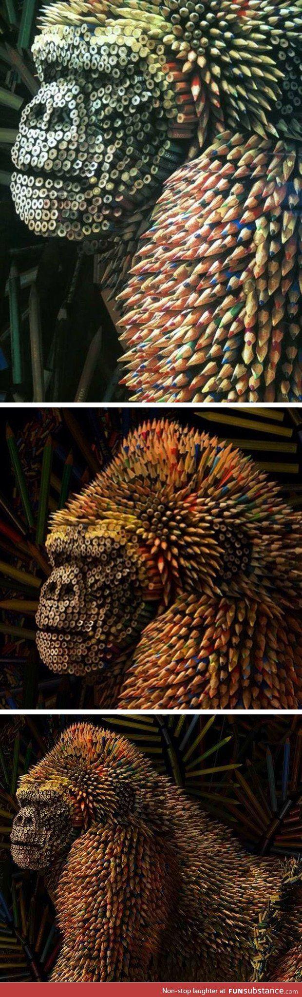 Gorilla made of colored pencils WOAAWOOOAOWOWOWOWAO