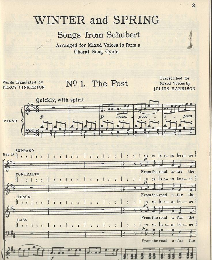 Winter & Spring: songs from Schubert: arranged for mixed voices to form a choral song cycle / transcribed for mixed voices with accompaniment for orchestra or piano by Julius Harrison; (words translated by Percy Pinkerton).