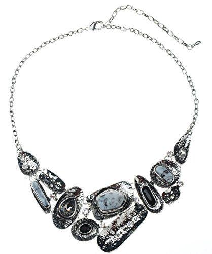 Lisababy смолы и горный хрусталь Сделано ретро и уникальное ожерелье сплава и Eariings Set Choker ожерелье (черный): Amazon.co.uk: Ювелирные изделия