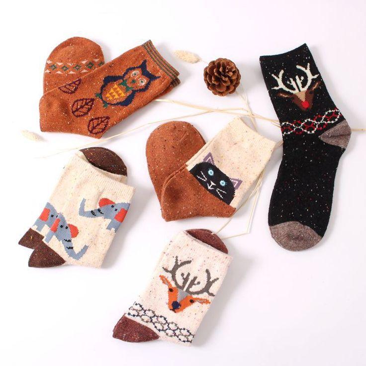 €1,82 - Vintage thick rabbit wool women ladies crew socks retro winter Harajuku animal owl deer cat elephant brand lovely cute cotton