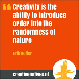 Creativity is the ability to introduce order into the randomness of nature. Erik Hoffer