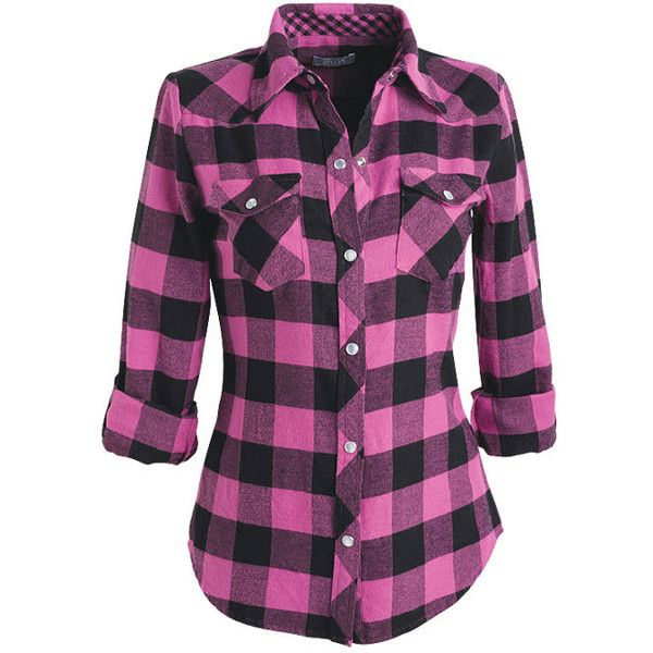 Elisa Flannel Shirt ($9.99) ❤ liked on Polyvore featuring tops, shirts, blusas, plaid, shirts & blouses, purple shirt, purple plaid shirt, button-down shirts, purple flannel shirt and checkered button down shirt