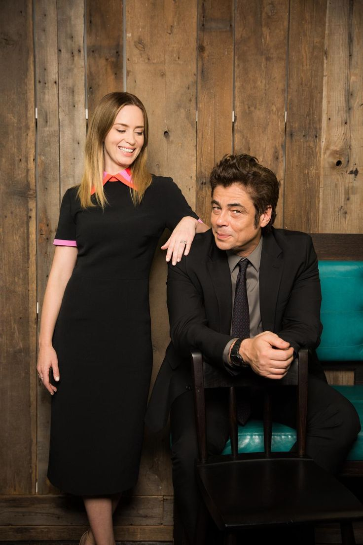 Emily Blunt and Benicio Del Toro for USA Today by Todd Plitt. He's always so serious in photos, and then, someone puts him with Emily Blunt, annnddd giant five year old.
