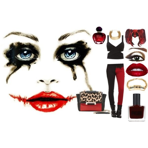 """harley quinn inspired look"" by krystal-clark on Polyvore"