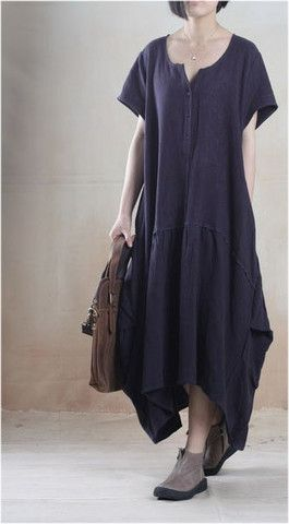 Casual Linen Dress in Navy Blue
