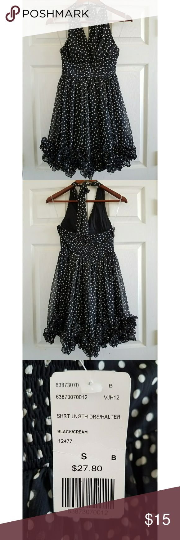 👗 Polka Dot Halter Dress 👗 Perfect for dinner or a night out! Never worn and perfect condition. Black with cream polka dots. 👗 Forever 21 Dresses