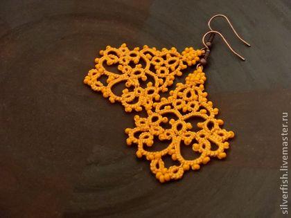 Orange tatted earrings