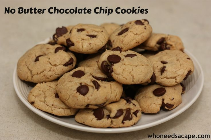 No Butter Chocolate Chip Cookies - you'll want to pin this for the next time you go to make cookies and find out that you ran out of butter!  AND they are so good!