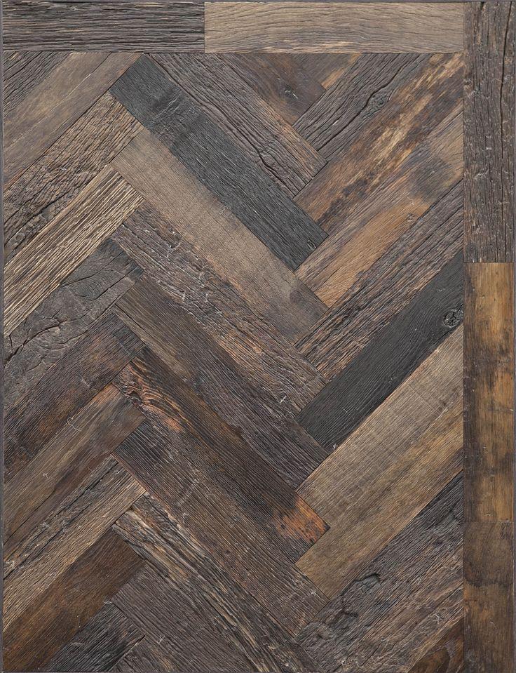 #Reclaimed Dark wood in #Herringbone