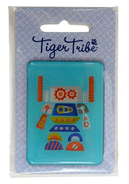 Jumbo Robot Magnet by Tiger Tribe!  This giant epoxy magnet is perfect for holding artwork, invitations, party prizes, gift bag prizes and little gift add ons!  #stockingfillers #robot #magnet #partyfavours #kidsgifts #childrensgifts #tigertribe #littlebooteek