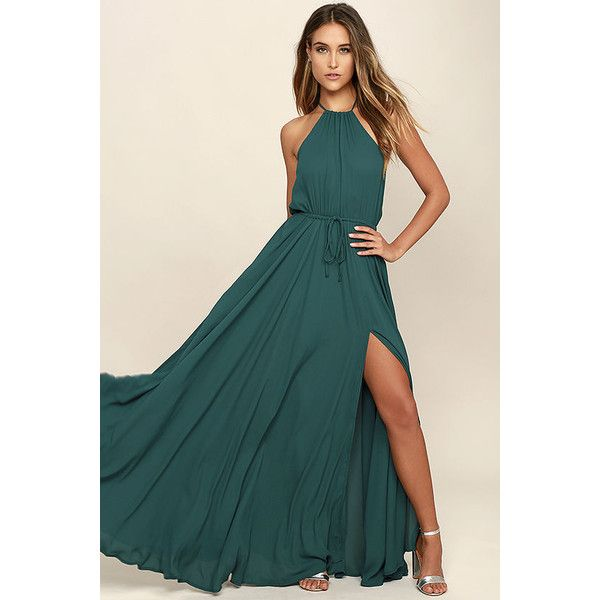 Lulus Essence of Style Forest Green Maxi Dress ($98) ❤ liked on Polyvore featuring dresses, green, maxi skirt dress, tie-dye maxi skirts, cutout dresses, side slit maxi skirt and maxi skirts