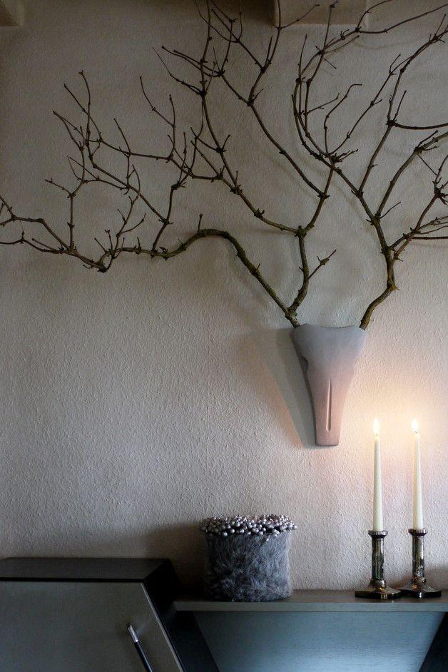 Ideal Wanddeko Geweih aus Gips mit sten wall decoration made of branches and gypsum made by