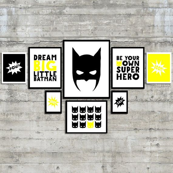 Superhero Wall Art, Dream Big Little Batman, Be Your Own Super Hero Wall Art, Printable Gallery Wall Art Set, BOOM ZAP POW!