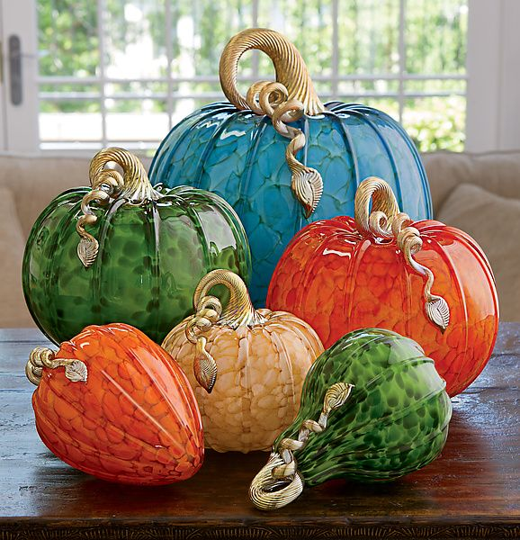 Woodland Pumpkins and Squash: Michael Cohn, Molly Stone: Art Glass Sculpture   Artful Home