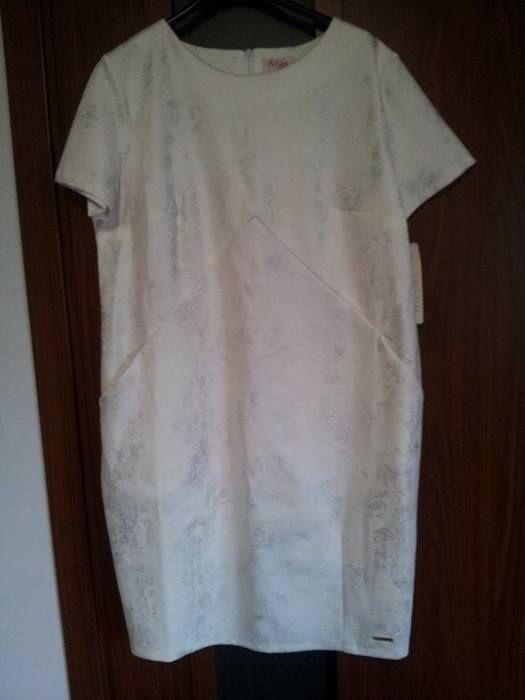 Biała sukienka elegancka, ołówkowa 42 xl 43 xxl - vinted.pl
