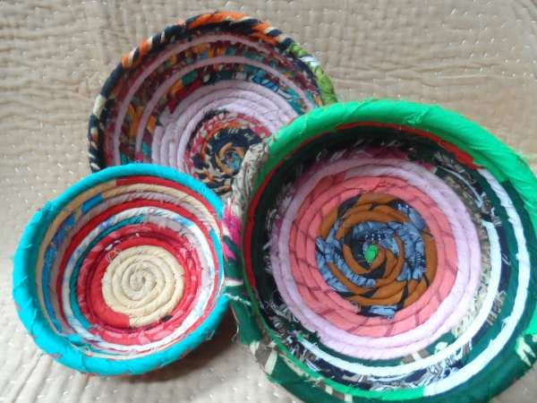 Recycled sari materials cover fibre to make these strong brightly coloured bowls.