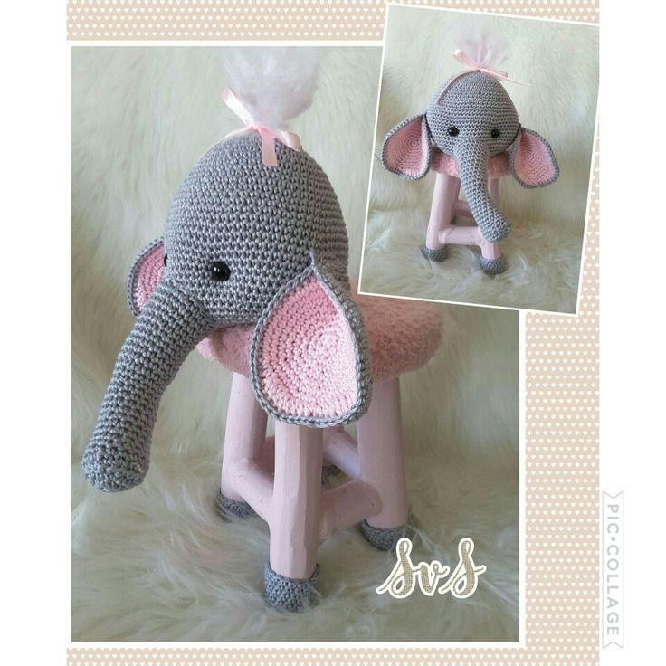 Dierenkrukje gemaakt, het hoofd is olifantje Nina van Mykrissiedolls