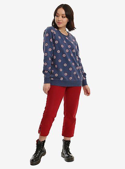 Her Universe Marvel Captain America Sheild Print Girls SweatshirtHer Universe Marvel Captain America Sheild Print Girls Sweatshirt,