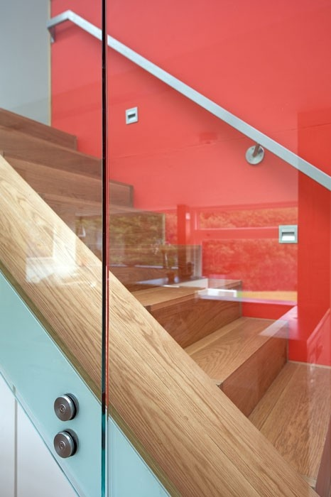 Architectural detail photography, Structural glass balustrade to oak stair