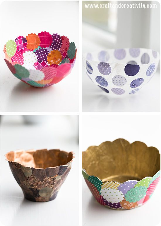 Bowl with martha stewart metallic craft paint interior for Diy paper bowl