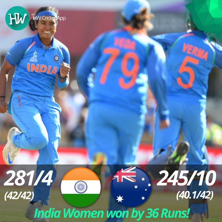 India have made it to the Finals! What a dominating performance over Australia. Incredible win! #WWC17 #AUSvIND #AUS #IND #cricket