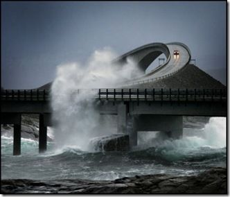 The Atlantic Road in Norway...built high enough for the waves to crash through. I didn't believe this at first, but I Googled and it indeed exists!