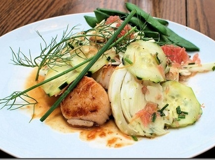Seared Scallops with Shaved Fennel, Cucumber and Grapefruit