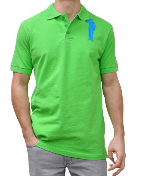 Green Polo. 100% Organic Cotton. 3 button placket. Bold Embroidery Front & Back.  Model 6' ft, waist 31 wearing Small Bold Polo. Order online: http://www.el-capitano.com/collections/polos/products/green