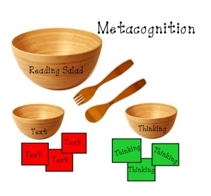 While sharing a picture book with your students, you demonstrate metacognition by placing red text pieces in the bowl as you read text and green thinking pieces as you stop to model thinking about the reading.