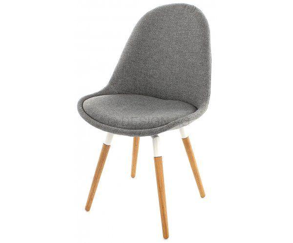 Krzesło Donna Szare Tkanina Nogi Fido Drewniane, biały lakier - 737zł