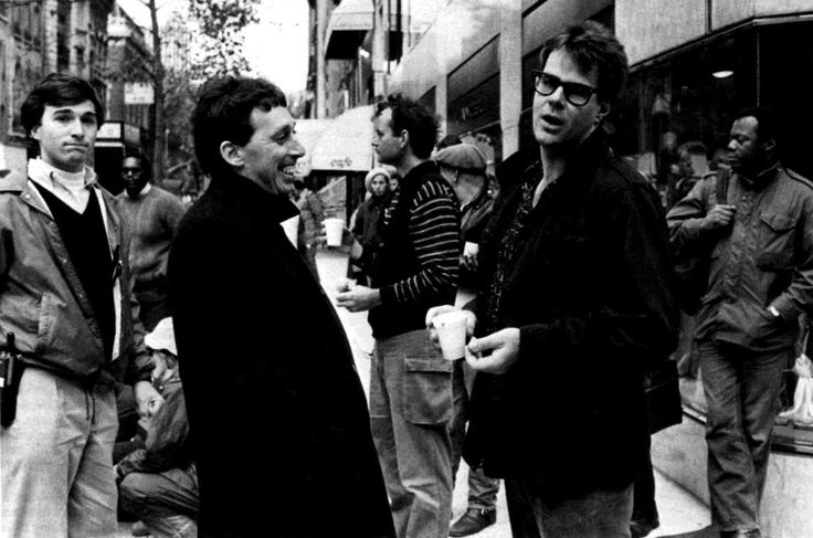 Ivan Reitman, Bill Murray and Dan Aykroyd on the set of Ghostbusters
