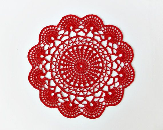 Red crochet doily hand crocheted lace doilies by DiaCrochets