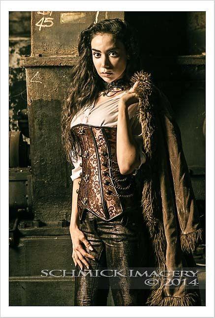 Book Cover White Hair : Steampunk woman female corset chain brass jacket coat fur