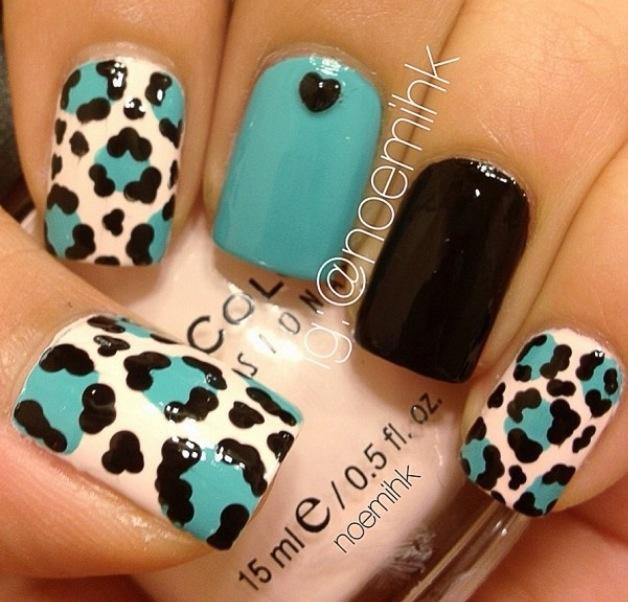 Teal black white animal print nail art