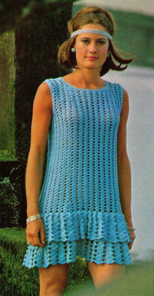 VINTAGE 60S WOMENS FLOUNCED SUMMER DRESS BLUE 32-38CMS 4PLY CROCHET PATTERN