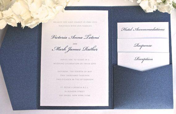 Pocket Fold Wedding Invitation Classic Elegant Wedding