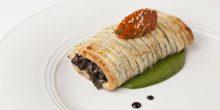 This savoury mushroom pastry recipe is a delicious pastry to make. Lifafa mushrooms and spinach are matched with roasted tomato chutney in Vineet Bhatia's recipe.