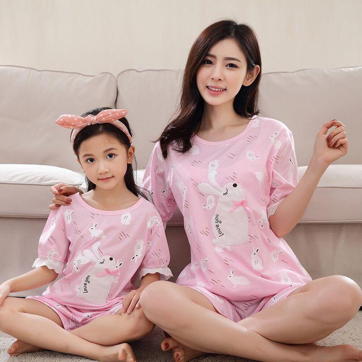 Family Matching Outfits Rabbit Pajamas Cotton Family Set Mother Daughter Pajamas Clothes Cartoon Family Clothing Sets XS8