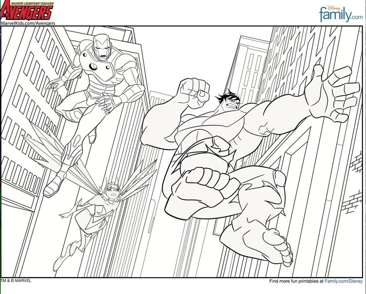 Printable Super Heroes The Avengers Iron Man Hulk Coloring Pages For Kids