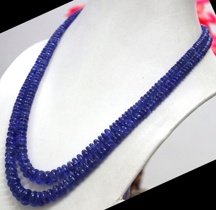 TOP AAA+ 469 Ct Natural blue tanzanite certified round bead necklace BOUNKIT