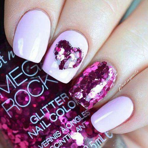 Pretty nails. Cute for Valentine's day.
