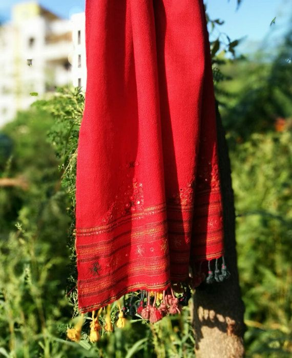 Handwoven and Hand Embroidered Pure Wool Red Stole by MograDesigns