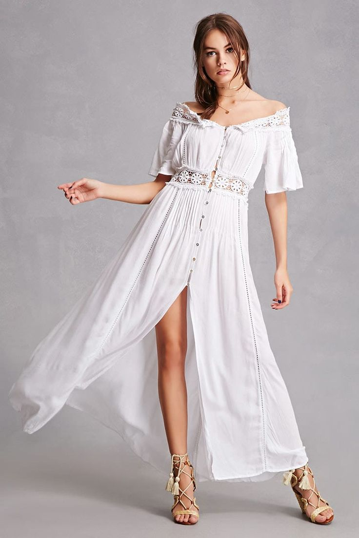A semisheer maxi dress by boho me featuring an offthe