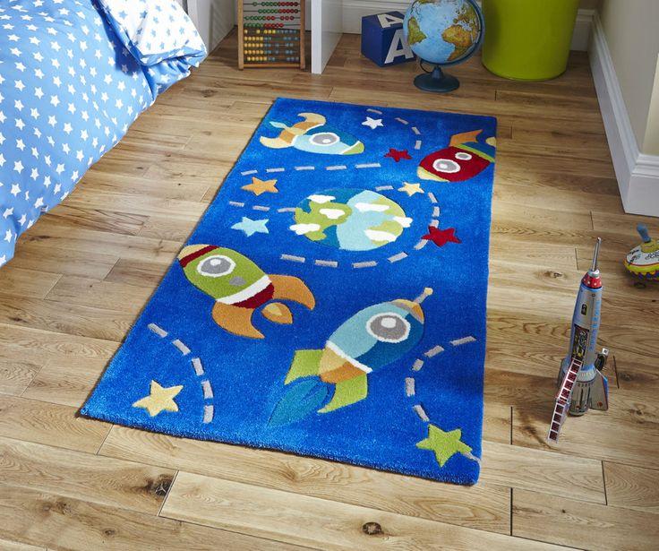 Blue Rocket Scene Children s Rug 70cm x 140cm (2'3 x 4'6 ft)