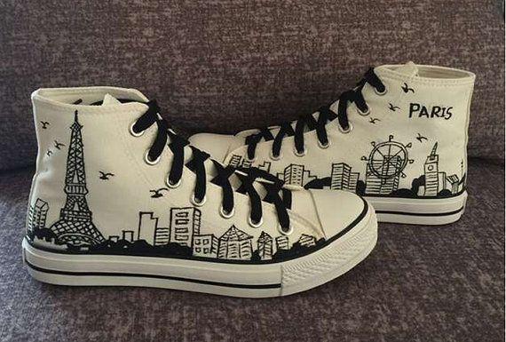 Zapatos pintados a mano zapatillas de lona zapatos hombres y mujeres zapatos…