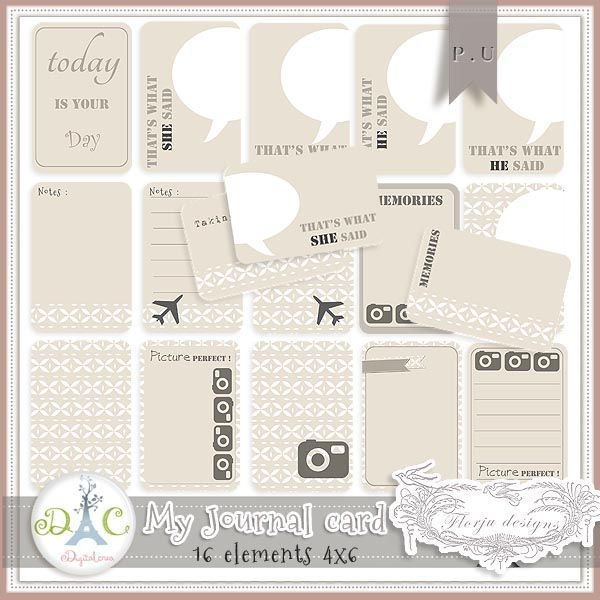 Project life, journaling cards free