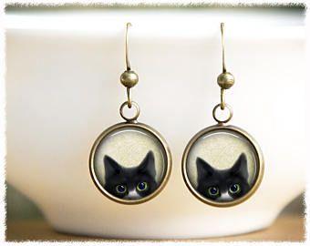 Única plata gato pendientes  joyas para mascotas  Cat lady