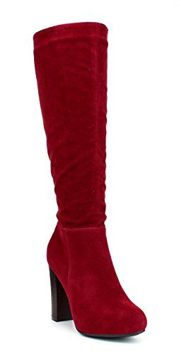 WestCoast Women's Knee High Boots Fashion Chunky High Heel Dress Boots Riding Long Boots Red 9$32.19